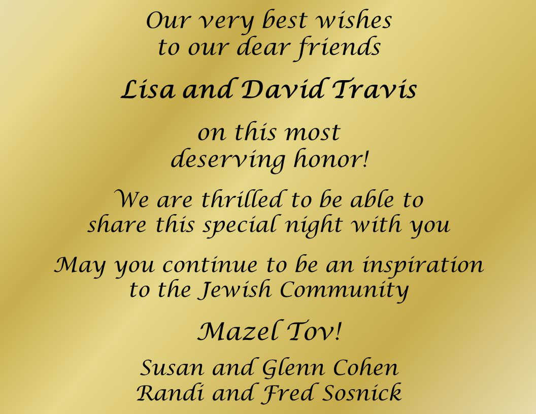 Lisa and David Travis Mazel Tov! Our very best wishes