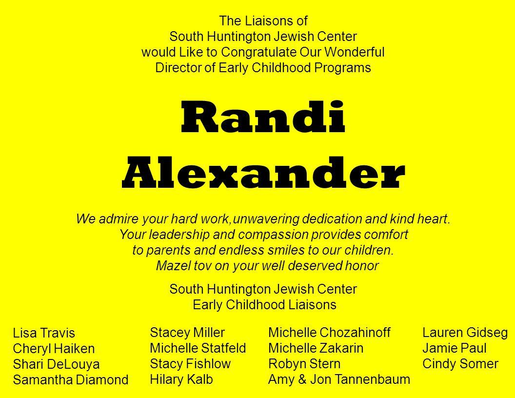 Randi Alexander The Liaisons of South Huntington Jewish Center