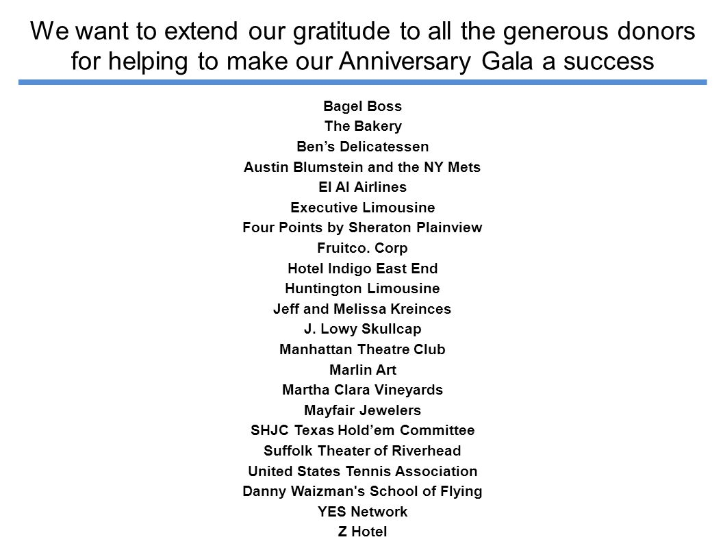 We want to extend our gratitude to all the generous donors