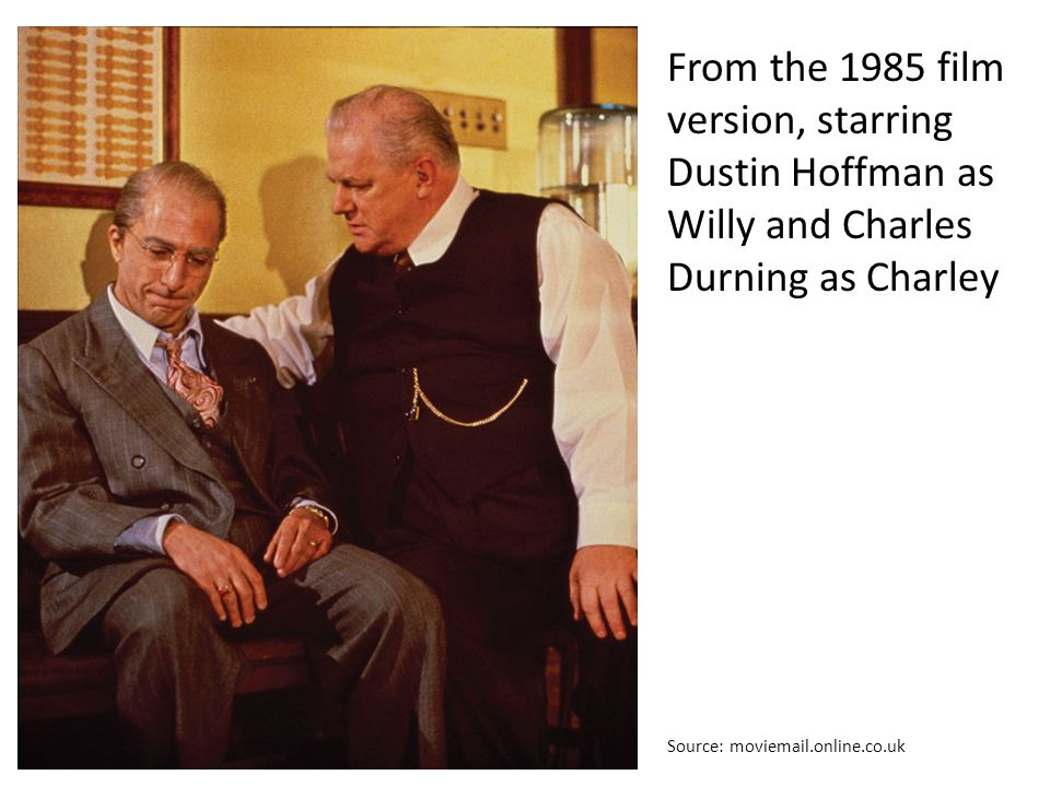 From the 1985 film version, starring Dustin Hoffman as Willy and Charles Durning as Charley