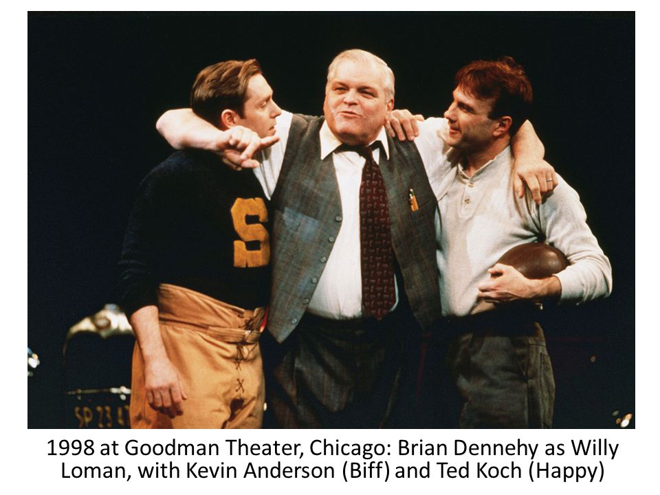 1998 at Goodman Theater, Chicago: Brian Dennehy as Willy Loman, with Kevin Anderson (Biff) and Ted Koch (Happy)