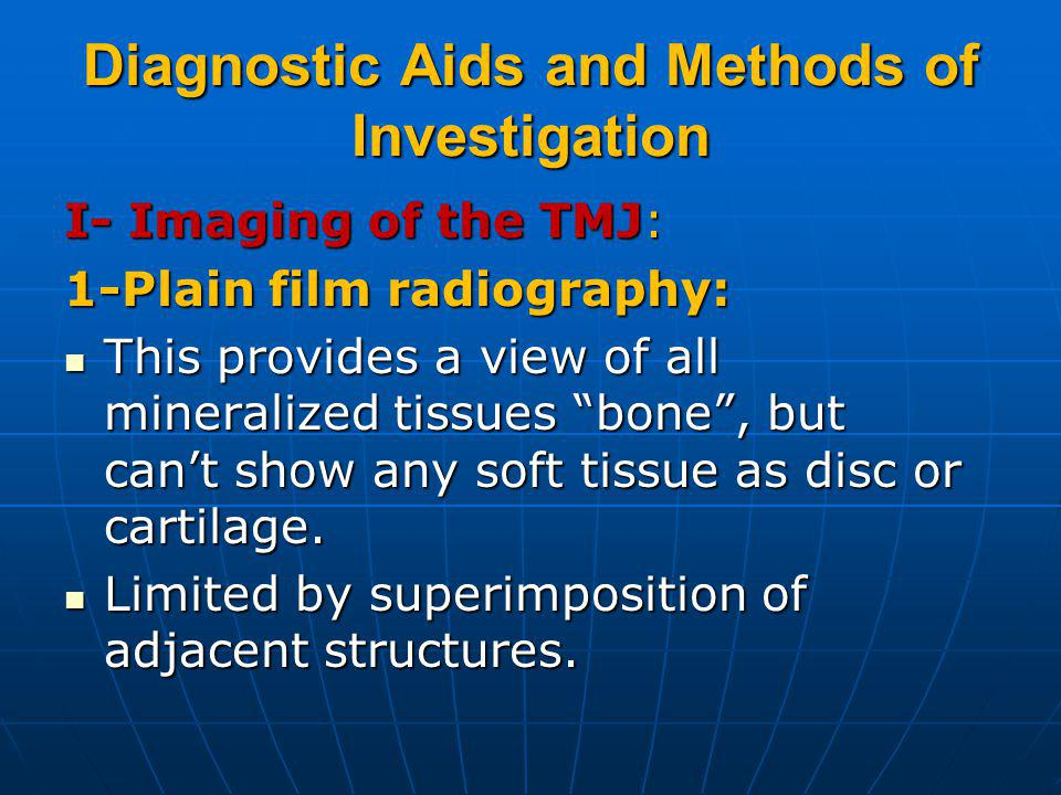 Diagnostic Aids and Methods of Investigation