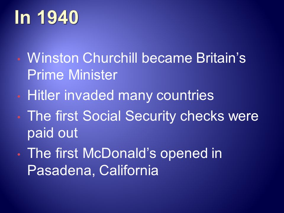 In 1940 Winston Churchill became Britain's Prime Minister