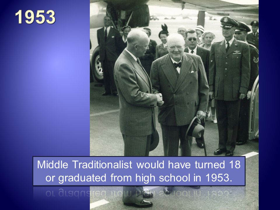 1953 Middle Traditionalist would have turned 18 or graduated from high school in 1953.