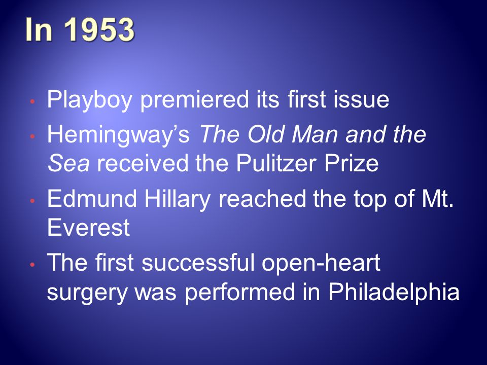 In 1953 Playboy premiered its first issue