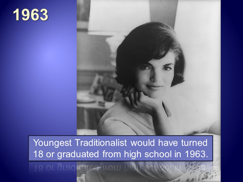 1963 Youngest Traditionalist would have turned 18 or graduated from high school in 1963.