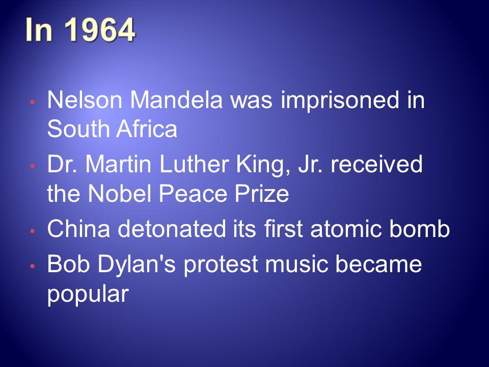 In 1964 Nelson Mandela was imprisoned in South Africa