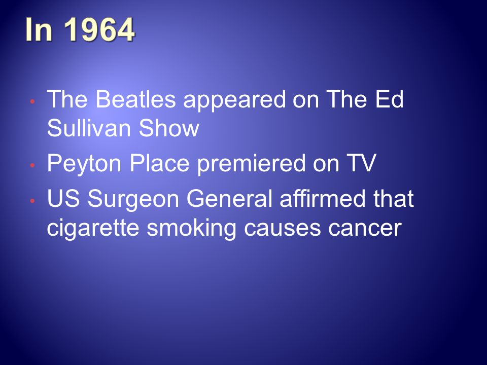 In 1964 The Beatles appeared on The Ed Sullivan Show