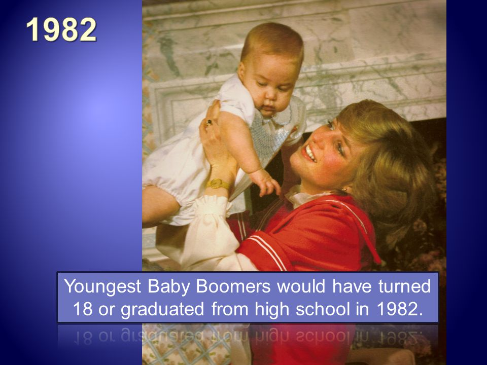 1982 Youngest Baby Boomers would have turned 18 or graduated from high school in 1982.