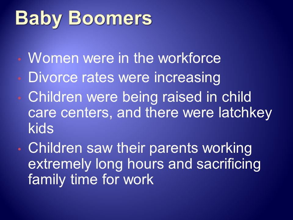 Baby Boomers Women were in the workforce Divorce rates were increasing