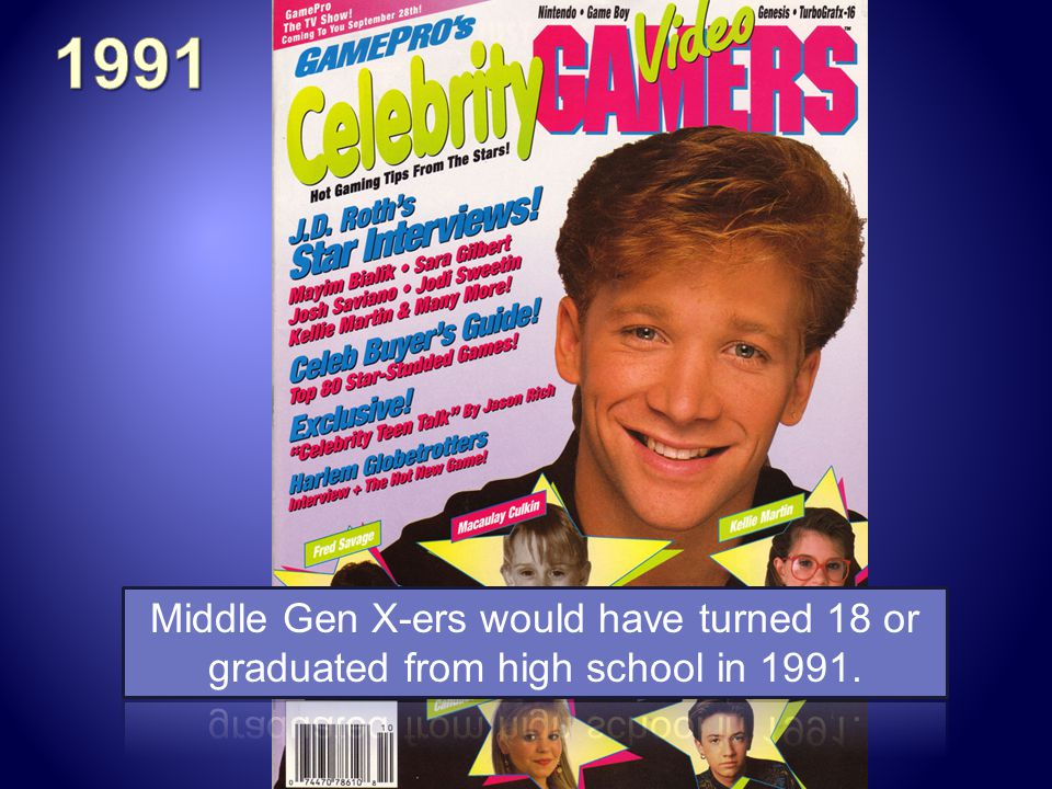 1991 Middle Gen X-ers would have turned 18 or graduated from high school in 1991.