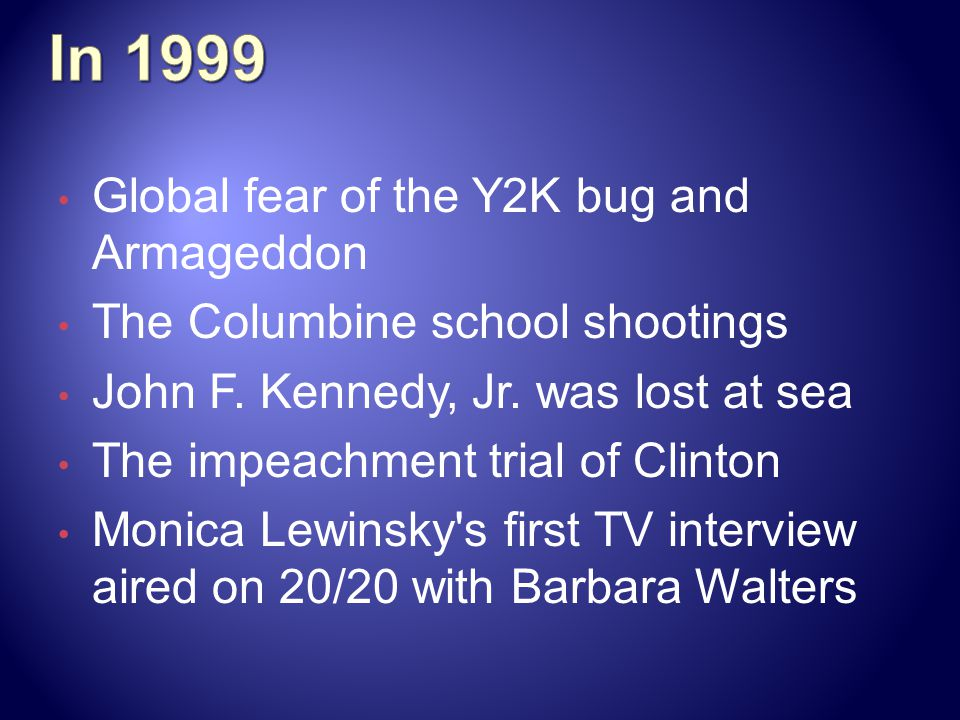 In 1999 Global fear of the Y2K bug and Armageddon