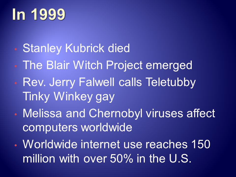 In 1999 Stanley Kubrick died The Blair Witch Project emerged