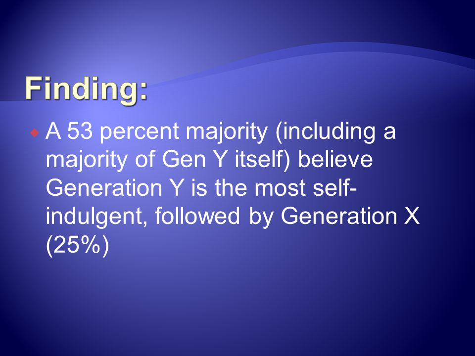 Finding: A 53 percent majority (including a majority of Gen Y itself) believe Generation Y is the most self-indulgent, followed by Generation X (25%)