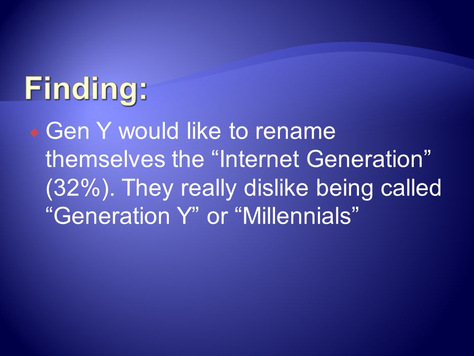 Finding: Gen Y would like to rename themselves the Internet Generation (32%).