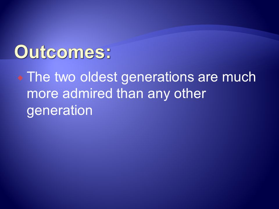 Outcomes: The two oldest generations are much more admired than any other generation