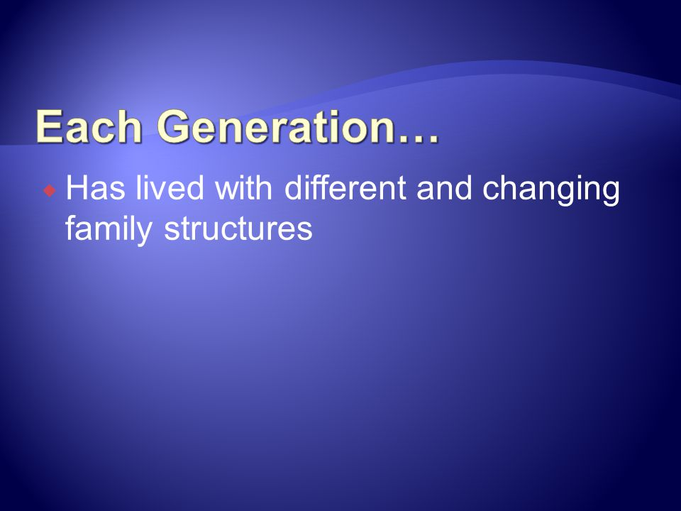 Each Generation… Has lived with different and changing family structures