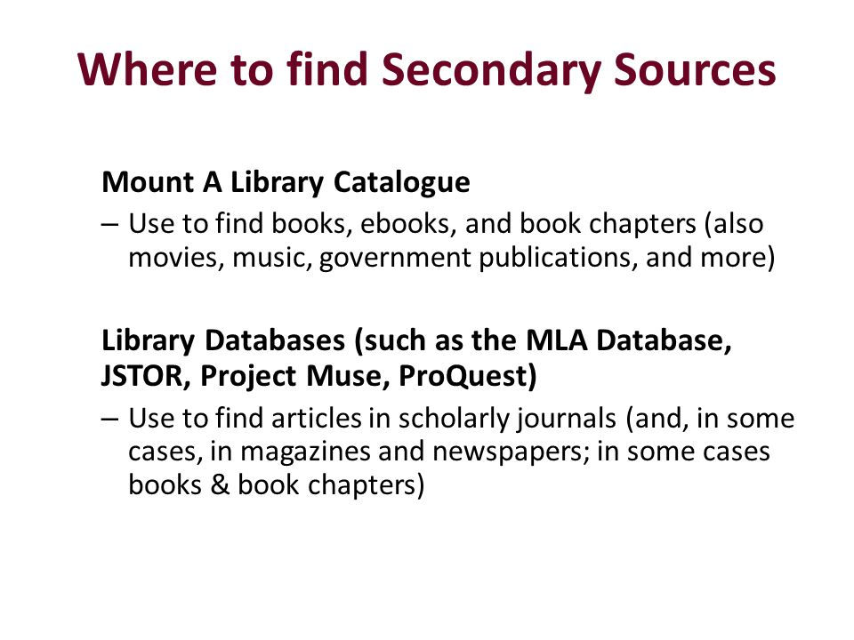 Where to find Secondary Sources