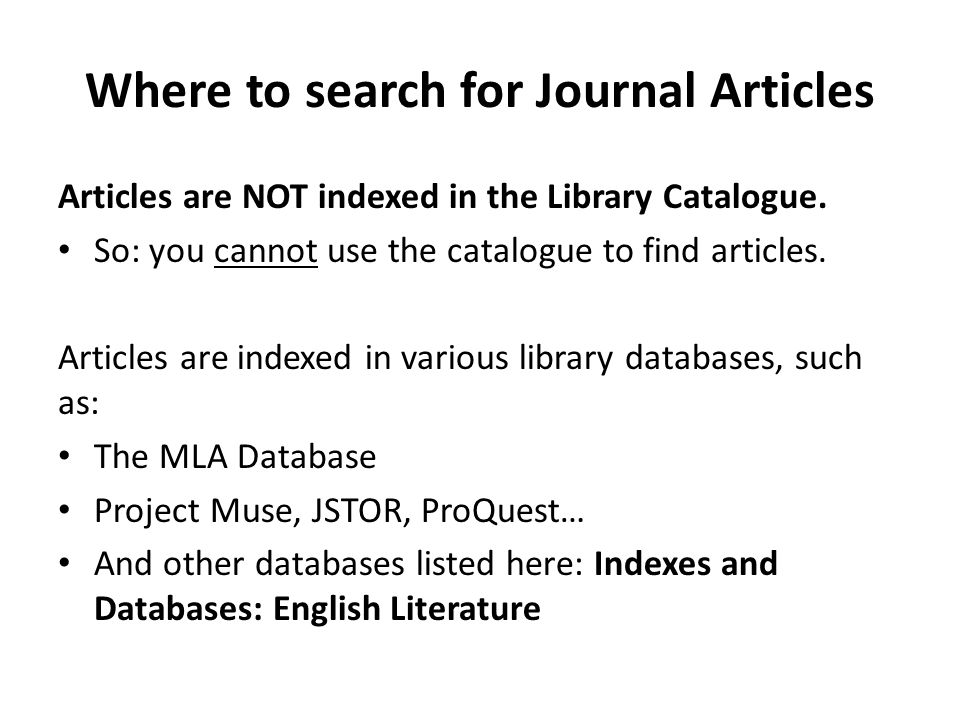Where to search for Journal Articles