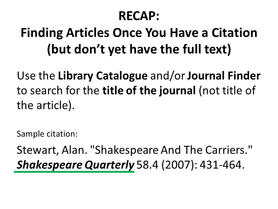 RECAP: Finding Articles Once You Have a Citation (but don't yet have the full text)