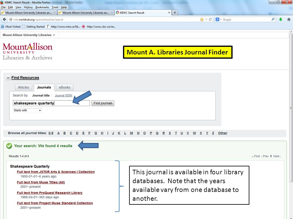 Mount A. Libraries Journal Finder