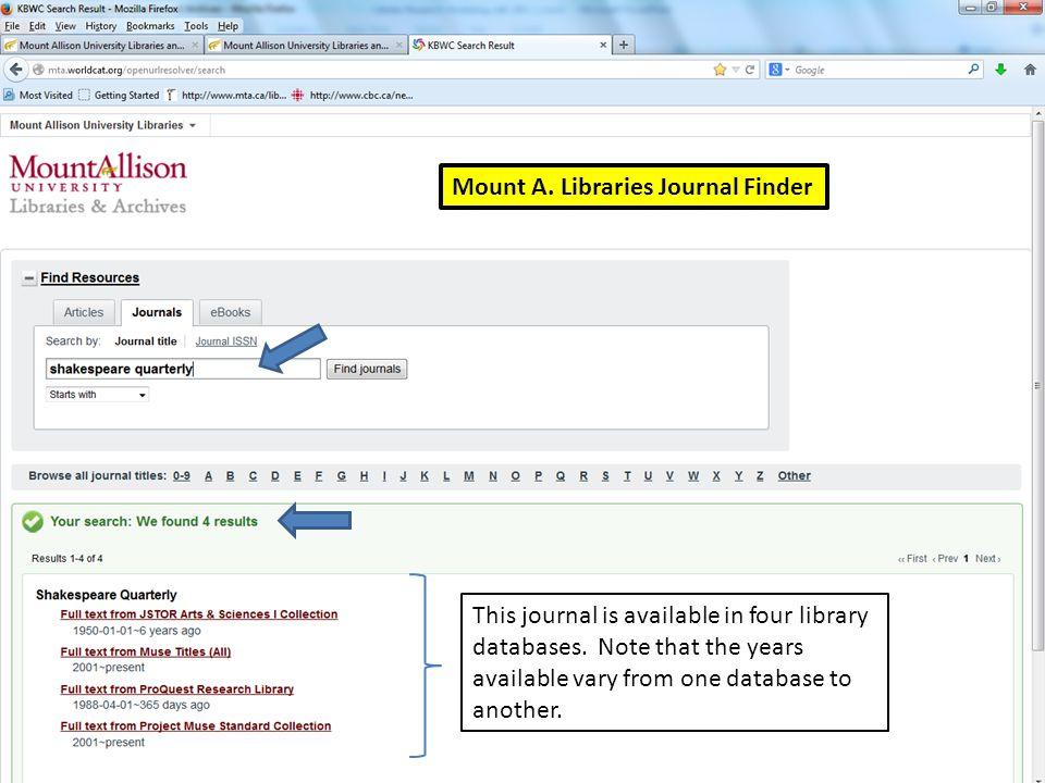 Mount A. Libraries Journal Finder