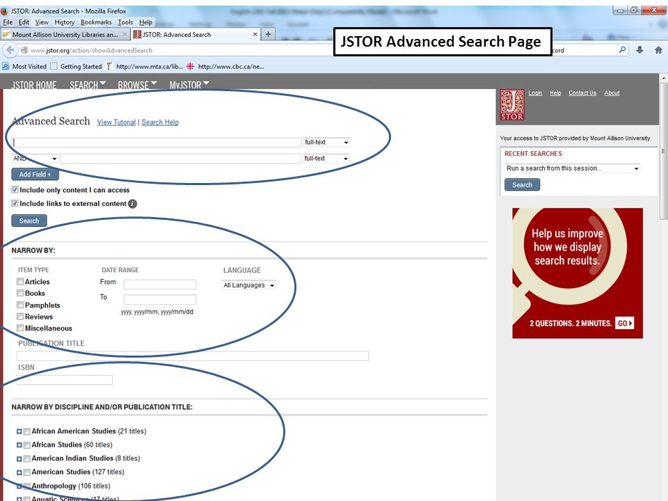 JSTOR Advanced Search Page