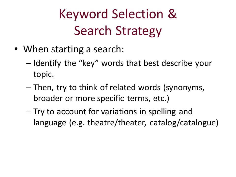Keyword Selection & Search Strategy