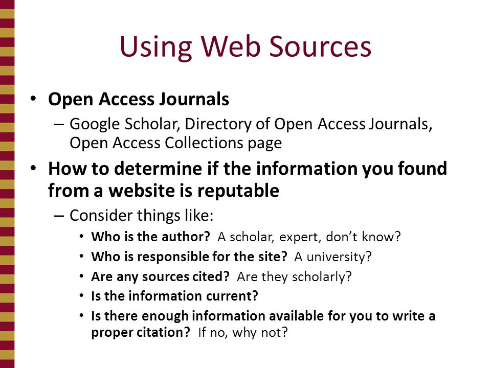 Using Web Sources Open Access Journals