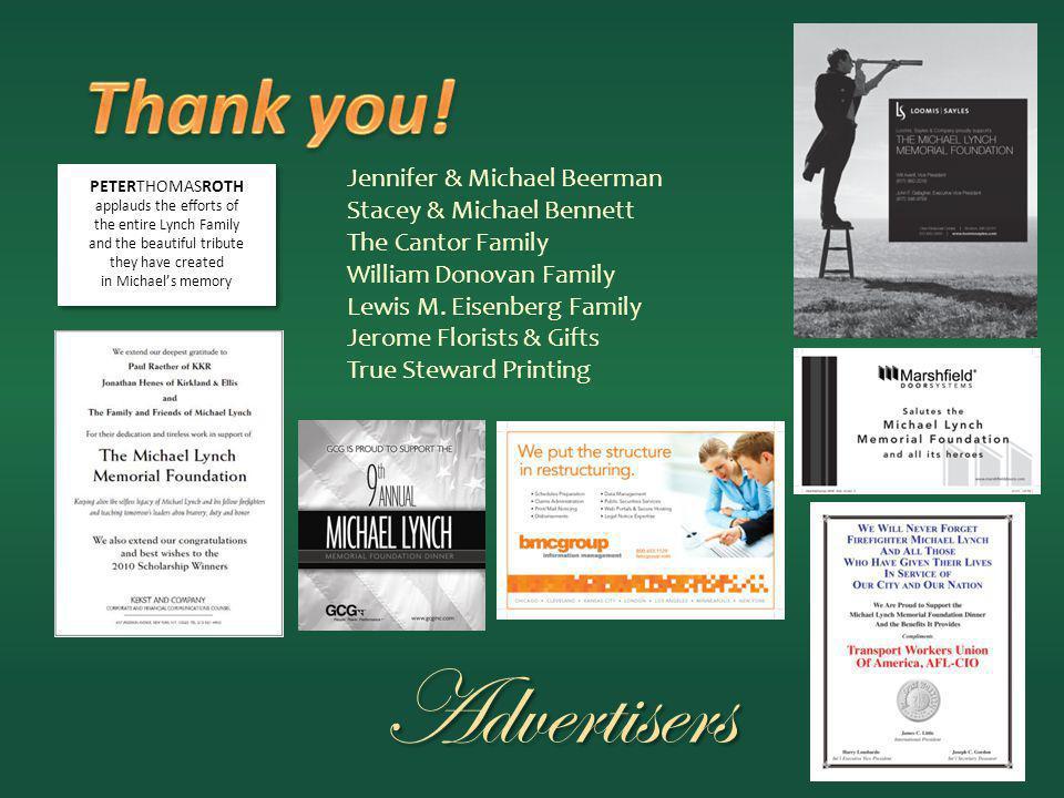 Advertisers Jennifer & Michael Beerman Stacey & Michael Bennett