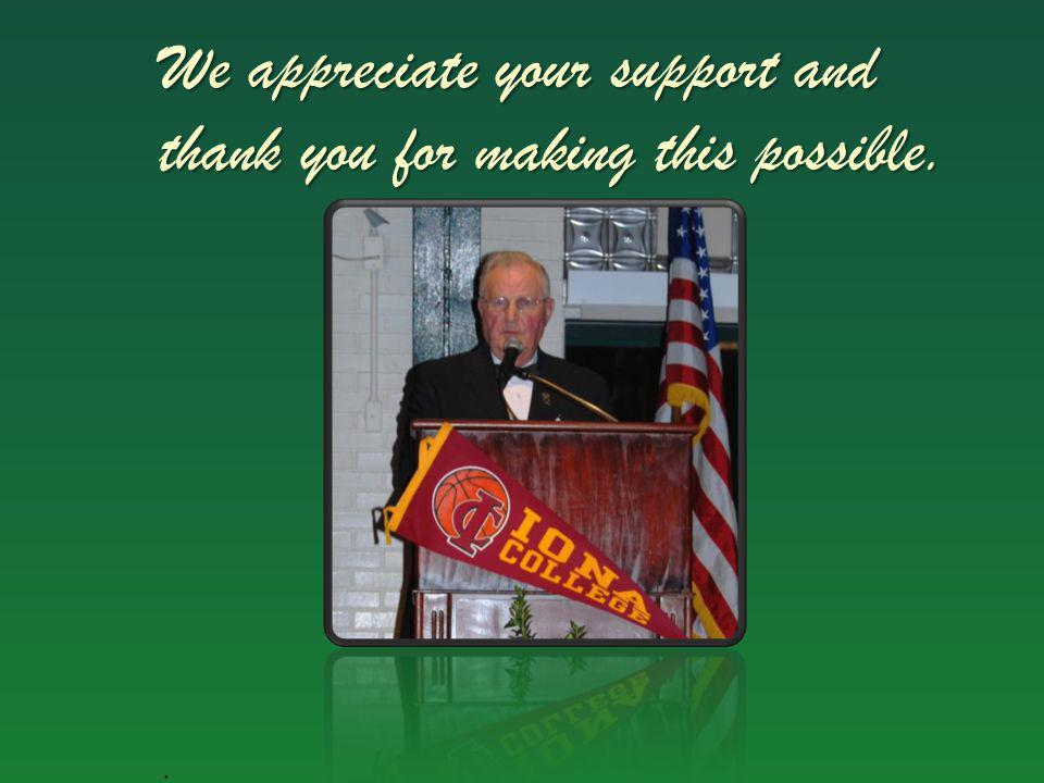We appreciate your support and thank you for making this possible.