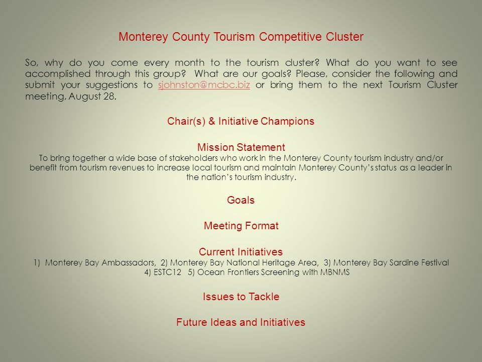 Monterey County Tourism Competitive Cluster