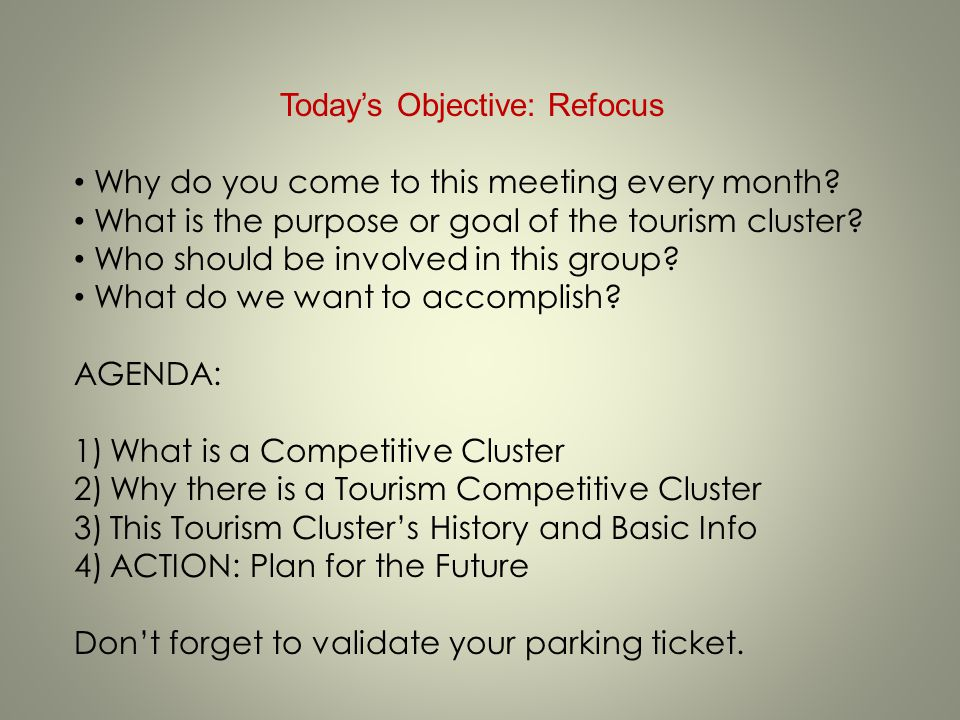 Today's Objective: Refocus