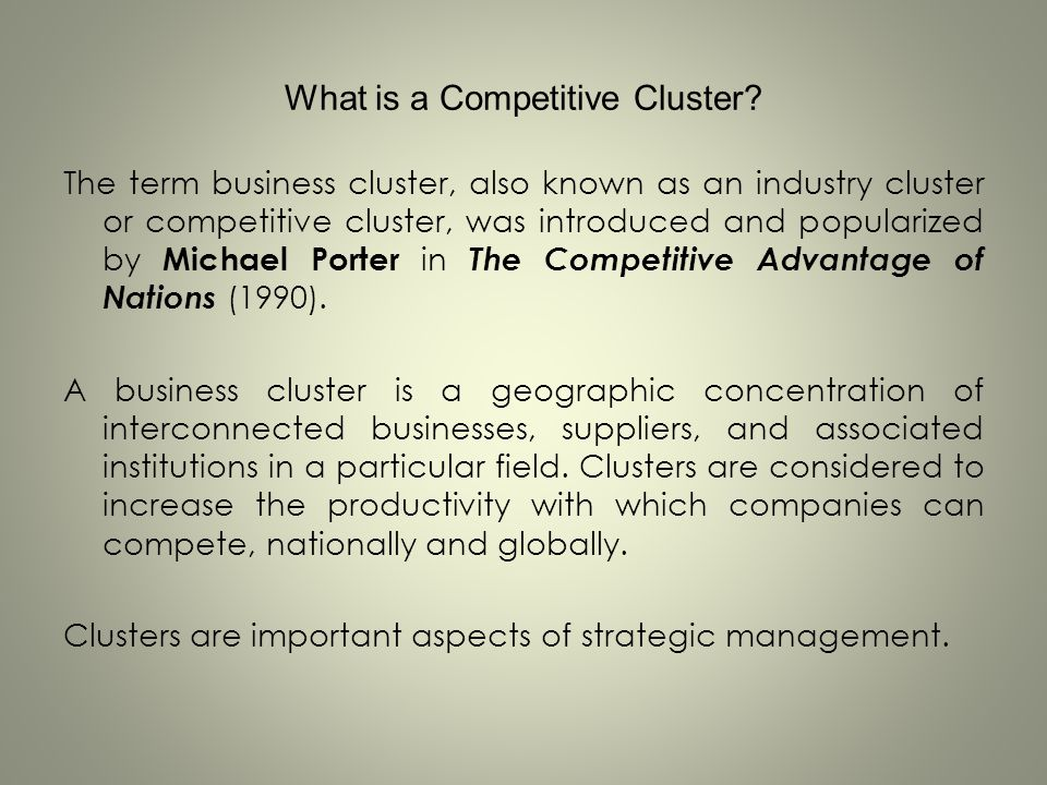 What is a Competitive Cluster
