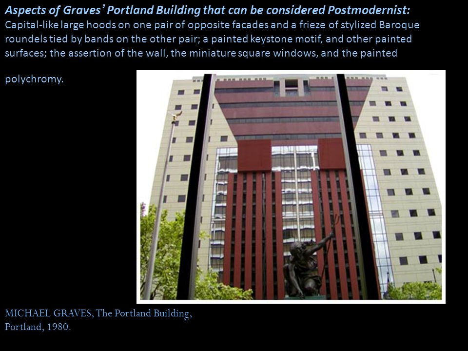 Aspects of Graves' Portland Building that can be considered Postmodernist: