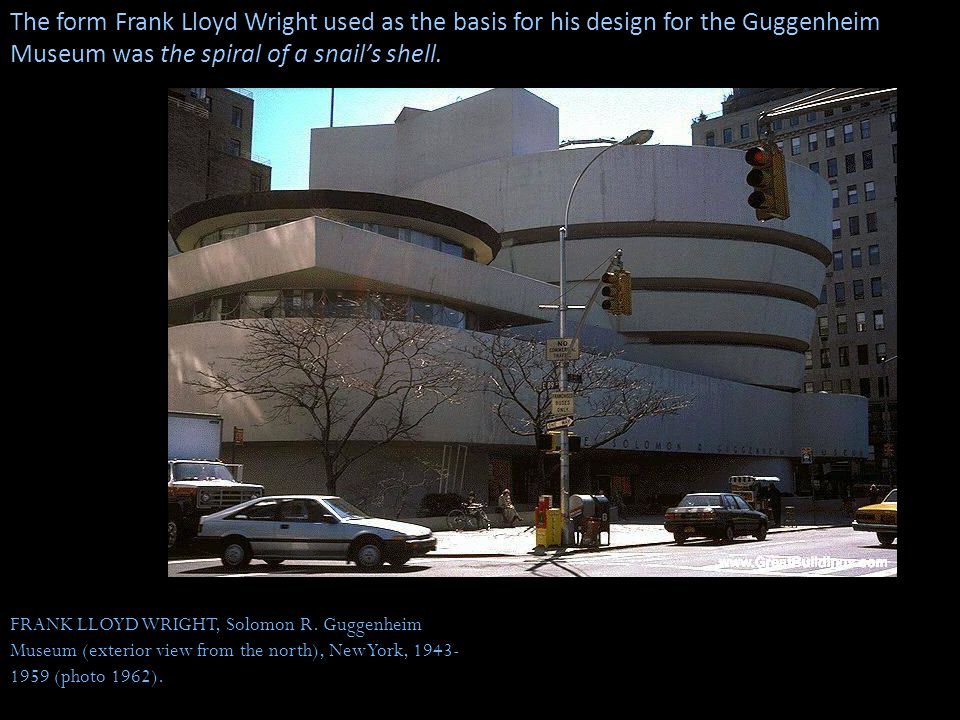 The form Frank Lloyd Wright used as the basis for his design for the Guggenheim Museum was the spiral of a snail's shell.