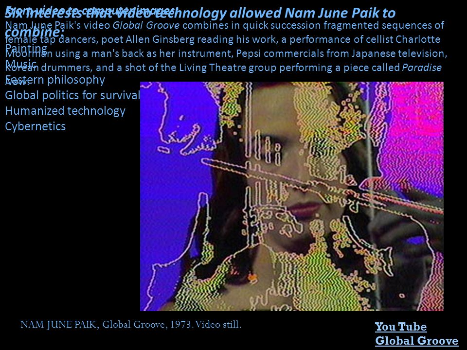 Six interests that video technology allowed Nam June Paik to combine: