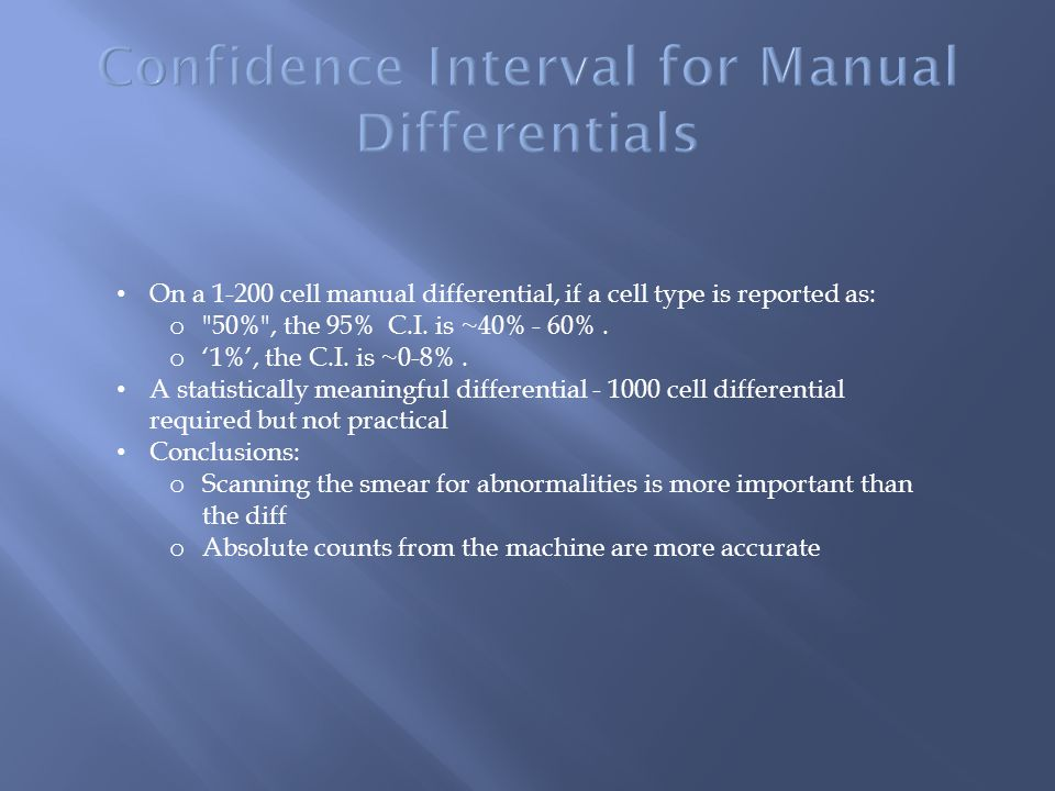 Confidence Interval for Manual Differentials