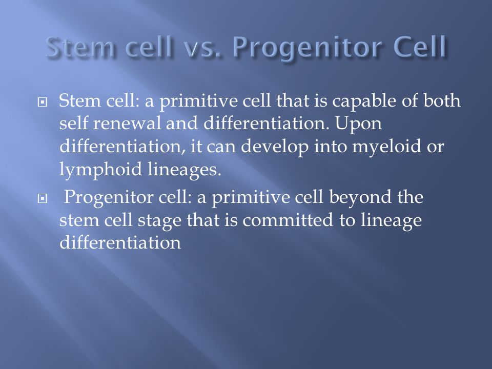Stem cell vs. Progenitor Cell