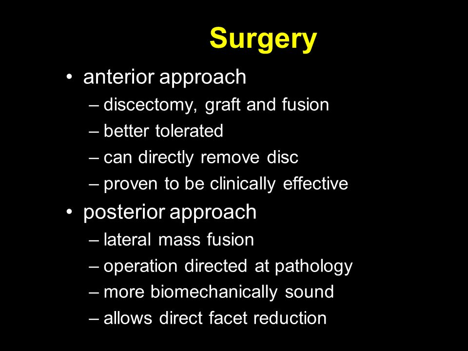 Surgery anterior approach posterior approach