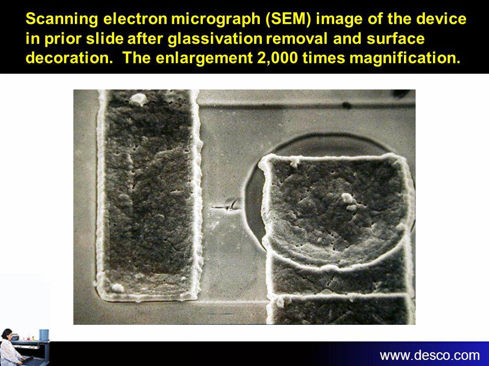 Scanning electron micrograph (SEM) image of the device in prior slide after glassivation removal and surface decoration. The enlargement 2,000 times magnification.