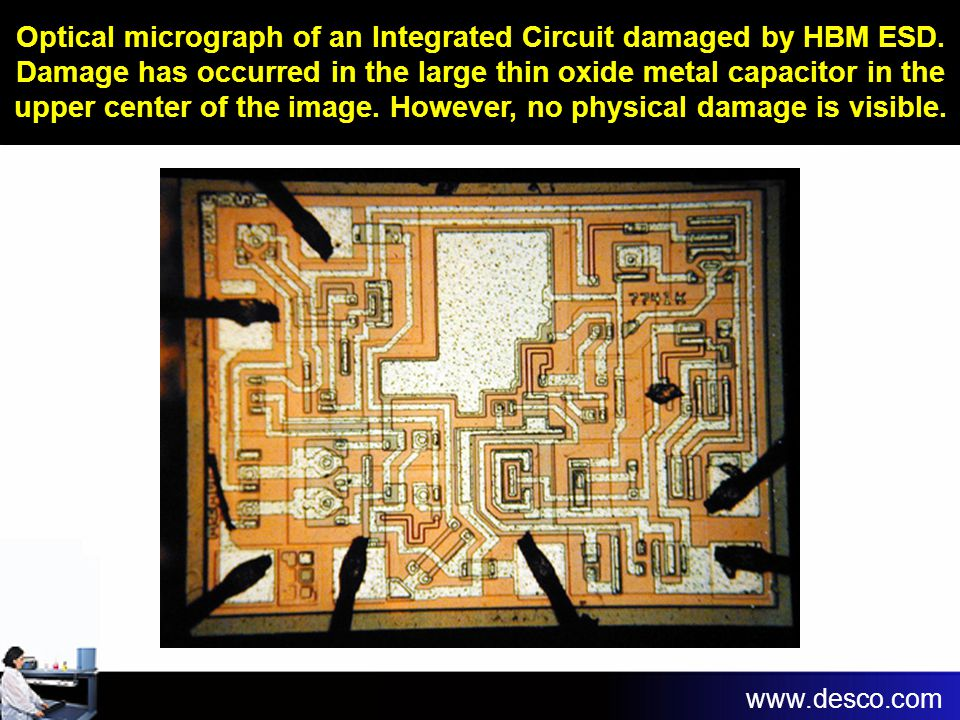 Optical micrograph of an Integrated Circuit damaged by HBM ESD
