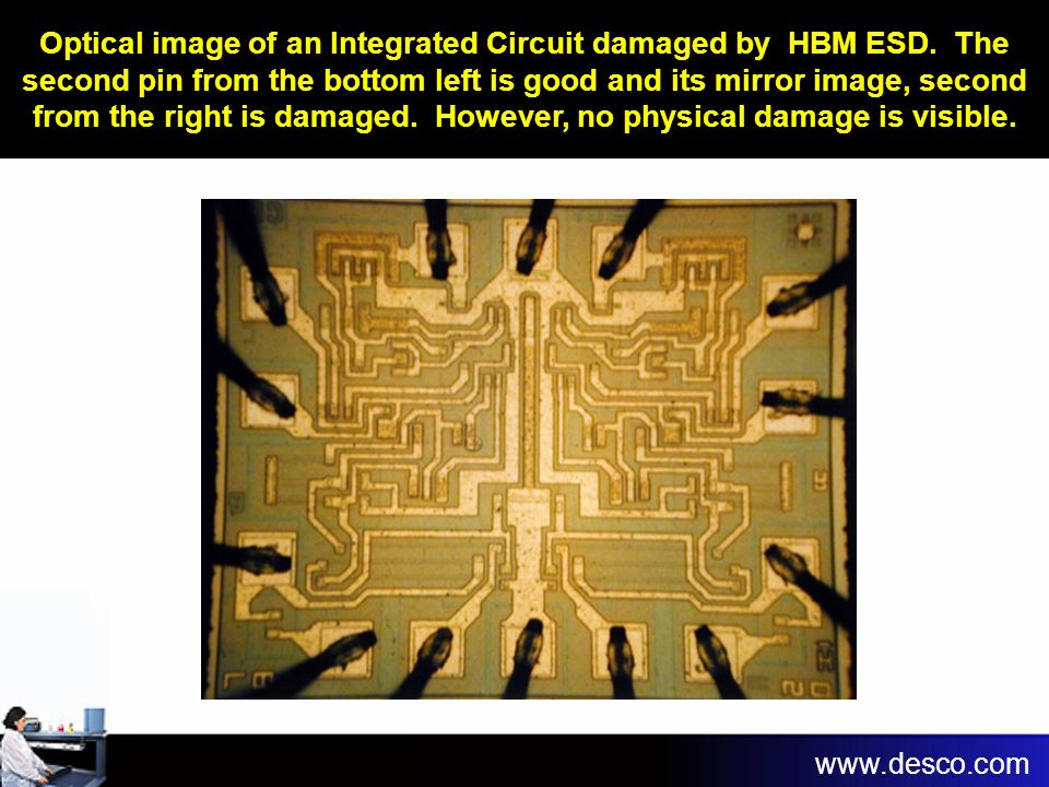 Optical image of an Integrated Circuit damaged by HBM ESD