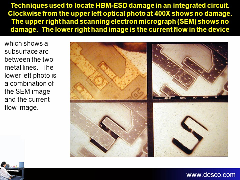 Techniques used to locate HBM-ESD damage in an integrated circuit
