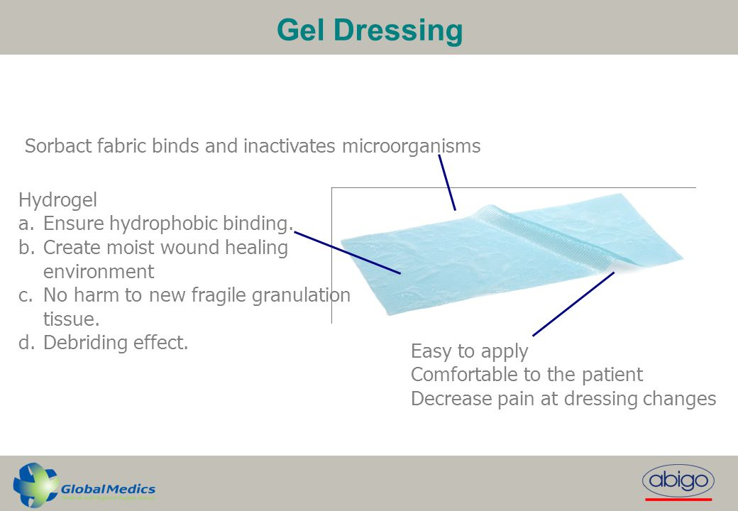 Gel Dressing Sorbact fabric binds and inactivates microorganisms