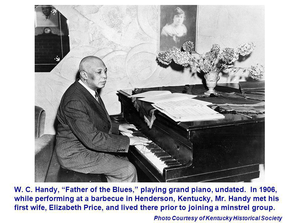 W. C. Handy, Father of the Blues, playing grand piano, undated