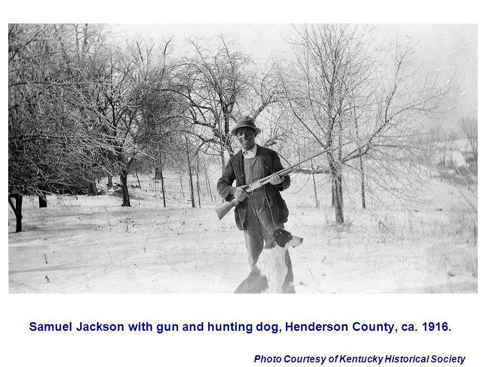 Samuel Jackson with gun and hunting dog, Henderson County, ca. 1916.