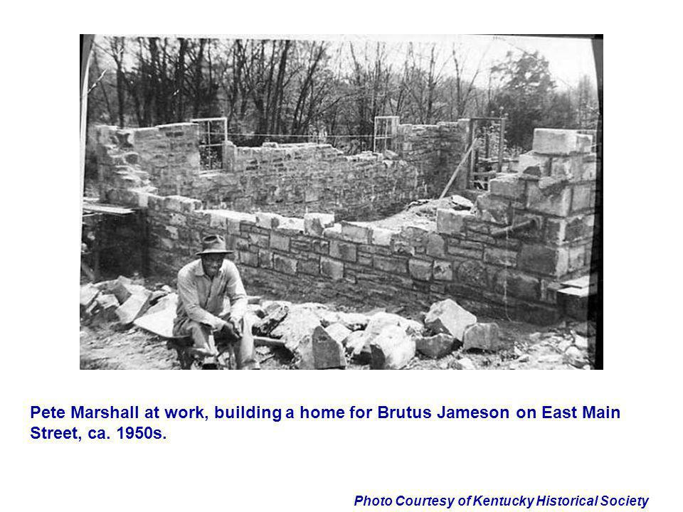 Pete Marshall at work, building a home for Brutus Jameson on East Main Street, ca. 1950s.