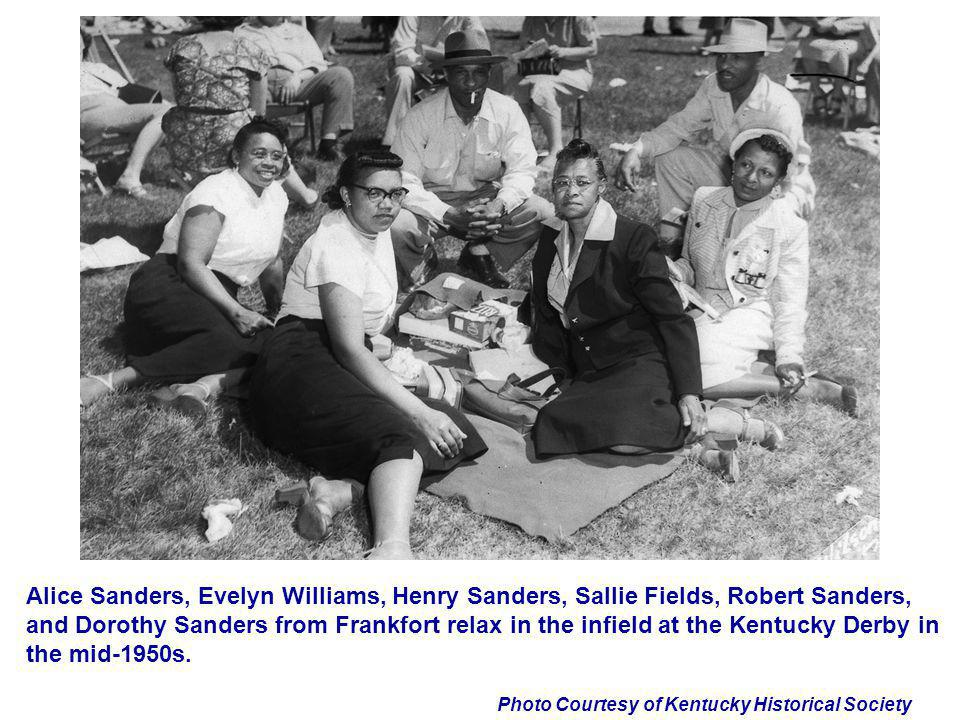 Alice Sanders, Evelyn Williams, Henry Sanders, Sallie Fields, Robert Sanders, and Dorothy Sanders from Frankfort relax in the infield at the Kentucky Derby in the mid-1950s.