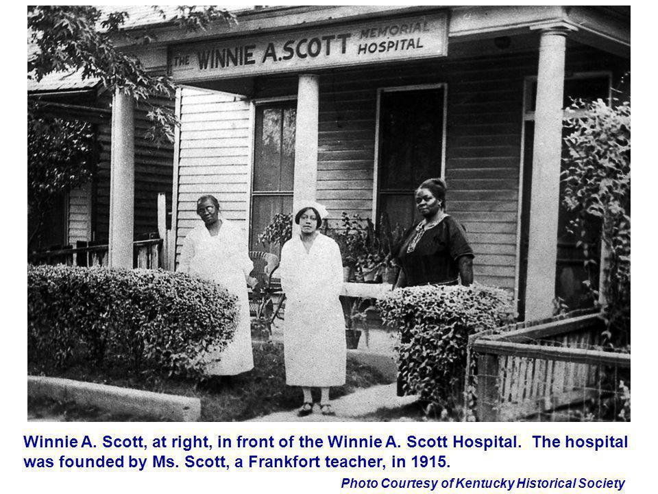 Winnie A. Scott, at right, in front of the Winnie A. Scott Hospital